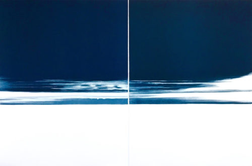 Bear River 1 & 2, unique water base monotype diptych, 40x60, 2018.